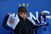 A young Leicester City fan ready for kick-off during the Premier League match between Leicester City and Manchester City at the King Power Stadium, Leicester, England on 18 November 2017. Photo by John Potts.