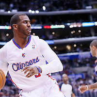 12 February 2014: Los Angeles Clippers point guard Chris Paul (3) looks to pass the ball during the Los Angeles Clippers 122-117 victory over the Portland Trail Blazers at the Staples Center, Los Angeles, California, USA.