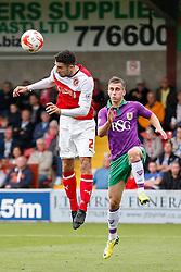 Conor McLaughlin of Fleetwood is challenged by Joe Bryan of Bristol City - Photo mandatory by-line: Rogan Thomson/JMP - 07966 386802 - 20/09/2014 - SPORT - FOOTBALL - Highbury Stadium, Fleetwood - Fleetwood Town v Bristol City - Sky Bet League 1.