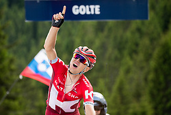 Winner Taaramae Rein (Estonia) of Team Katusha celebrates at finish line during Stage 2 of 23rd Tour of Slovenia 2016 / Tour de Slovenie from Nova Gorica to Golte  (217,2 km) cycling race on June 17, 2016 in Slovenia. Photo by Vid Ponikvar / Sportida
