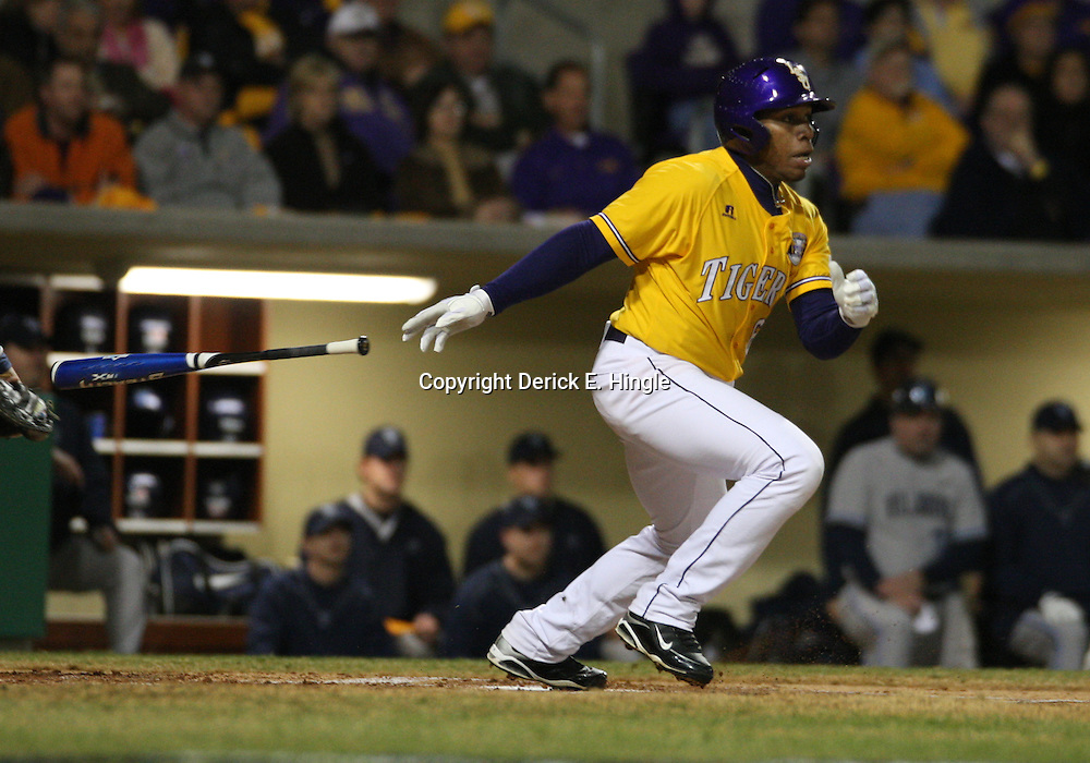 2009 February 20: LSU's Leon Landry runs after a hit during a NCAA baseball match up between the #1 ranked LSU Tiger and the unranked Villanova Wilcats at the newly constructed Alex Box Stadium in Baton Rouge, Louisiana..