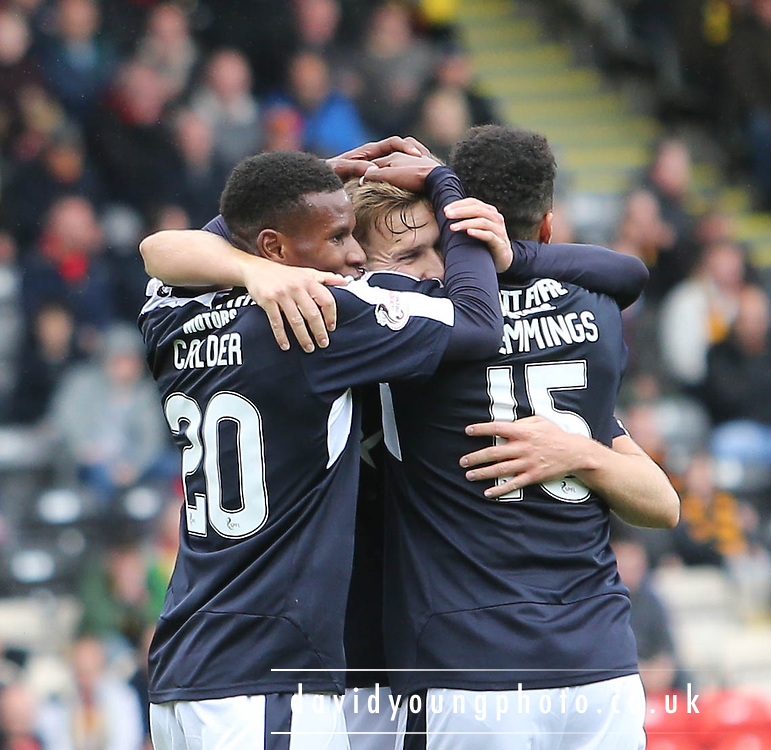 Kane Hemmings and Riccardo Calder congratulate Greg Stewart after his winning goal - Partick Thistle v Dundee, Ladbrokes Premiership at Firhill<br /> <br />  - &copy; David Young - www.davidyoungphoto.co.uk - email: davidyoungphoto@gmail.com