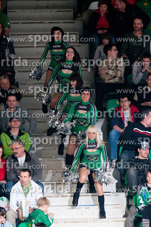 Cheerleaders Ice Ladies during ice-hockey match between HDD Tilia Olimpija and HK Acroni Jesenice in second game of Final at Slovenian National League, on April 3, 2011 at Hala Tivoli, Ljubljana, Slovenia. (Photo By Matic Klansek Velej / Sportida.com)