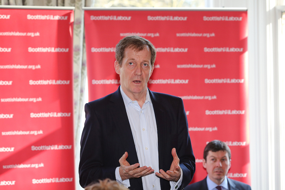 Former Labour spin doctor Alastair Campbell on Labour campaign trail helping to launch Ken Macintosh (R) re-election campaign. The former Labour communications director will speak with activists and take part in a Q&A with party members and the media in Giffnock, Picture Robert Perry 14th March 2016<br /> <br /> Must credit photo to Robert Perry<br /> FEE PAYABLE FOR REPRO USE<br /> FEE PAYABLE FOR ALL INTERNET USE<br /> www.robertperry.co.uk<br /> NB -This image is not to be distributed without the prior consent of the copyright holder.<br /> in using this image you agree to abide by terms and conditions as stated in this caption.<br /> All monies payable to Robert Perry<br /> <br /> (PLEASE DO NOT REMOVE THIS CAPTION)<br /> This image is intended for Editorial use (e.g. news). Any commercial or promotional use requires additional clearance. <br /> Copyright 2014 All rights protected.<br /> first use only<br /> contact details<br /> Robert Perry     <br /> 07702 631 477<br /> robertperryphotos@gmail.com<br /> no internet usage without prior consent.         <br /> Robert Perry reserves the right to pursue unauthorised use of this image . If you violate my intellectual property you may be liable for  damages, loss of income, and profits you derive from the use of this image.