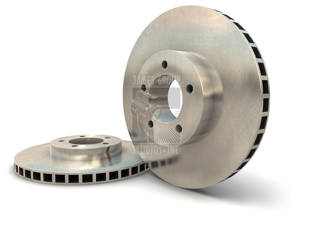 Brake rotors on a white background isolated with a clipping path
