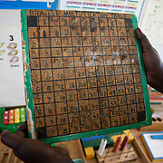 The Stars Foundation visiting the Kenya Society for the Blind.The Kenya Society for the Blind is a long standing charity which works to make blind people able to function in the community as a whole. They support children in schools and supply them with Braille writers, specialist teachers,glasses for visually impaired,counseling and other much needed tools. .A Braille multiplication table used in Kilimani Primary School in Nairobi.