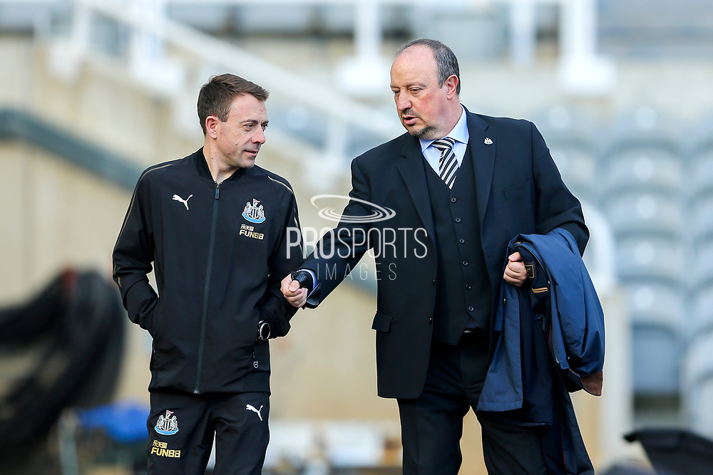 Newcastle United manager Rafael Benitez arrives ahead of the Premier League match between Newcastle United and Huddersfield Town at St. James's Park, Newcastle, England on 23 February 2019.
