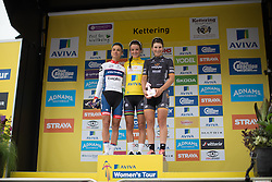 The final,  overall podium of the 2016 Aviva Women's Tour of Britain, with winner Lizzie Armitstead (GBR) of Boels-Dolmans Cycling Team (middle), Ashleigh Moolmann-Pasio (RSA) of Cervélo-Bigla Cycling Team (left) and Elisa Longo-Borghini (ITA) of Wiggle Hi5 Cycling Team (right).