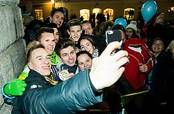 Jan Grebenc with fans during reception of Slovenian National Handball Men team after they placed third at IHF World Handball Championship France 2017, on January 30, 2017 in Mestni trg, Ljubljana centre, Slovenia. Photo by Vid Ponikvar / Sportida