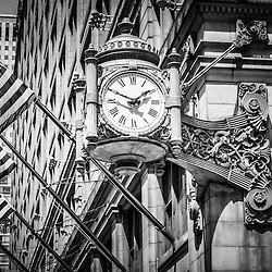 Chicago Marshall Field's clock (Macy's) in black and white. The famous clock is one of Chicago's most recognizable symbols.