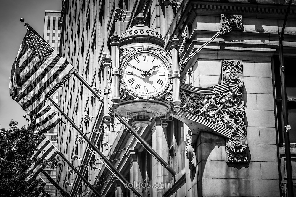famous architectural buildings black and white. Chicago Marshall Field\u0027s Clock (Macy\u0027s) In Black And White. The Famous Is. Architectural Buildings White U