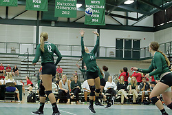 23 September 2017:  Kira Jackson & Maddie Williams during an NCAA womens division 3 Volleyball match between the Tufts Jumbos and the Illinois Wesleyan Titans in Shirk Center, Bloomington IL