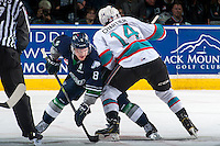 KELOWNA, CANADA - APRIL 23: Scott Eansor #8 of Seattle Thunderbirds is checked by Rourke Chartier #14 of Kelowna Rockets on April 23, 2016 at Prospera Place in Kelowna, British Columbia, Canada.  (Photo by Marissa Baecker/Shoot the Breeze)  *** Local Caption *** Scott Eansor; Rourke Chartier;