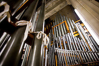 25 November, 2008. New York, NY. Douglas Hunt, 53, curator of organs for the cathedral of St. John the Divine, is here in south pipe room of the organ. There are about 8500 pipes in the cathedral. The organ at the Cathedral of St. John the Divine, heavily damaged in a fire in 2001, has been rebuilt. The organ has been tuned for the last couple of weeks.  ©2008 Gianni Cipriano for The New York Times<br /> cell. +1 646 465 2168 (USA)<br /> cell. +1 328 567 7923 (Italy)<br /> gianni@giannicipriano.com<br /> www.giannicipriano.com