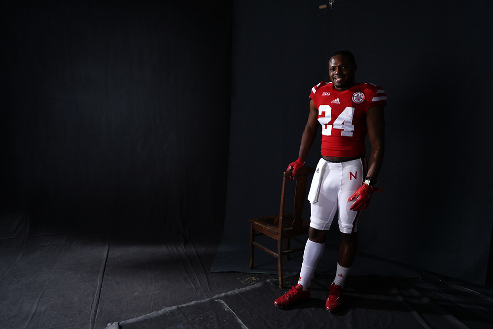 Aaron Williams #24 during a portrait session at Memorial Stadium in Lincoln, Neb. on June 6, 2017. Photo by Paul Bellinger, Hail Varsity