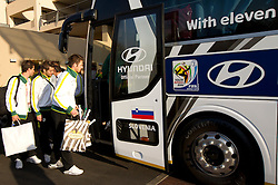 Elvedin Dzinic of Slovenia and Bostjan Cesar of Slovenia at departure of Slovenia National team from Southern Sun Hyde Park Hotel to airport for flight home after the last 2010 FIFA World Cup South Africa Group C  match between Slovenia and England on June 25, 2010 at Southern Sun Hyde Park Hotel, Johannesburg, South Africa. (Photo by Vid Ponikvar / Sportida)
