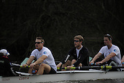 Putney. London. Tideway Week build up to the   2011 University Boat Race over parts of the Championship Course - Putney to Mortlake. Cambridge, CUBC [Blue Boat], crew members focus during afternoon session, Liz BOX [far left], David NELSON stroke [centre left], Derek RASMUSSEN [centre right],George ROTH [far right]. Monday  21/03/2011 [Mandatory Credit; Karon Phillips/Intersport-images] 2011 Tideway Week