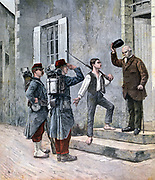 French soldiers arriving at their billet.  From 'Le Petit Journal', Paris, 14 May 1892.  France, Army, Infantry
