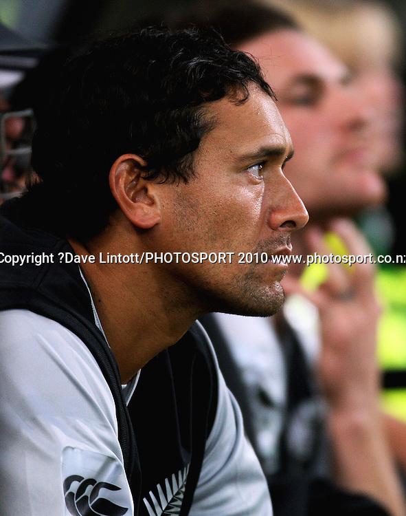 NZ's Daryl Tuffey waits for his turn at bat.<br /> 1st Twenty20 cricket match - New Zealand v Australia at Westpac Stadium, Wellington. Friday, 26 February 2010. Photo: Dave Lintott/PHOTOSPORT