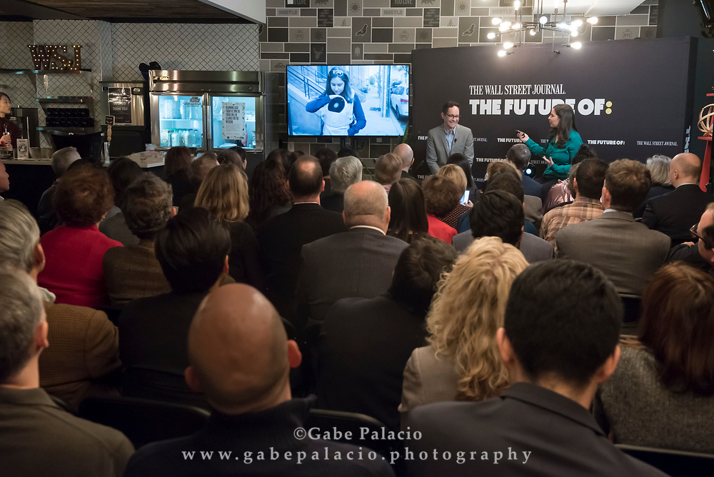 The WSJ The Future of: Innovation, a look at the tech innovations to look forward to in 2018 and beyond featuring The Wall Street Journal Technology Columnists Joanna Stern and Christopher Mims. in New York City on December 7, 2017. (photo by Gabe Palacio)