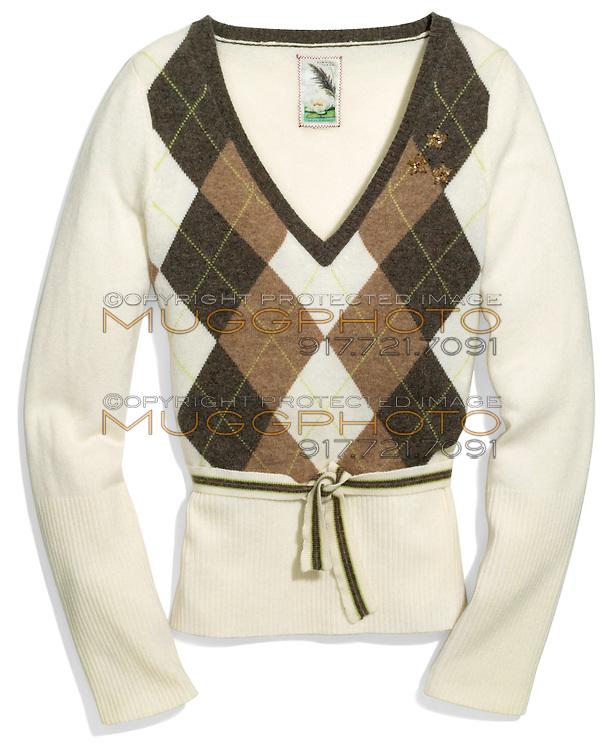 burning torch argyle v neck wool sweater
