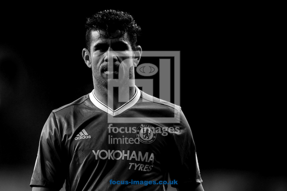 (Converted to Black &amp; White) Diego Costa of Chelsea during the Premier League match between Tottenham Hotspur and Chelsea at White Hart Lane, London<br /> Picture by Richard Blaxall/Focus Images Ltd +44 7853 364624<br /> 04/01/2017
