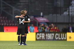 July 24, 2018 - Cluj-Napoca, Romania - Malmö FF's Anders Christiansen and Markus Rosenberg celebrates during CFR 1907 Cluj v Malmö FF UEFA Champions League, Second Qualifying Round, Stadium Dr. Constantin Radulescu, Cluj-Napoca, Romania, 24 July 2018. (Credit Image: © Alex Nicodim/NurPhoto via ZUMA Press)