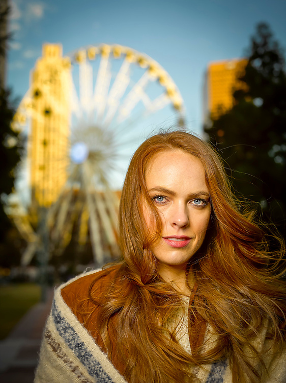 Model's portrait created with a Profoto B1 battery powered strobe, and a Profoto beauty dish, while teaching a student class.  Shot on a very cold and windy day in Atlanta's Centennial Olympic Park.
