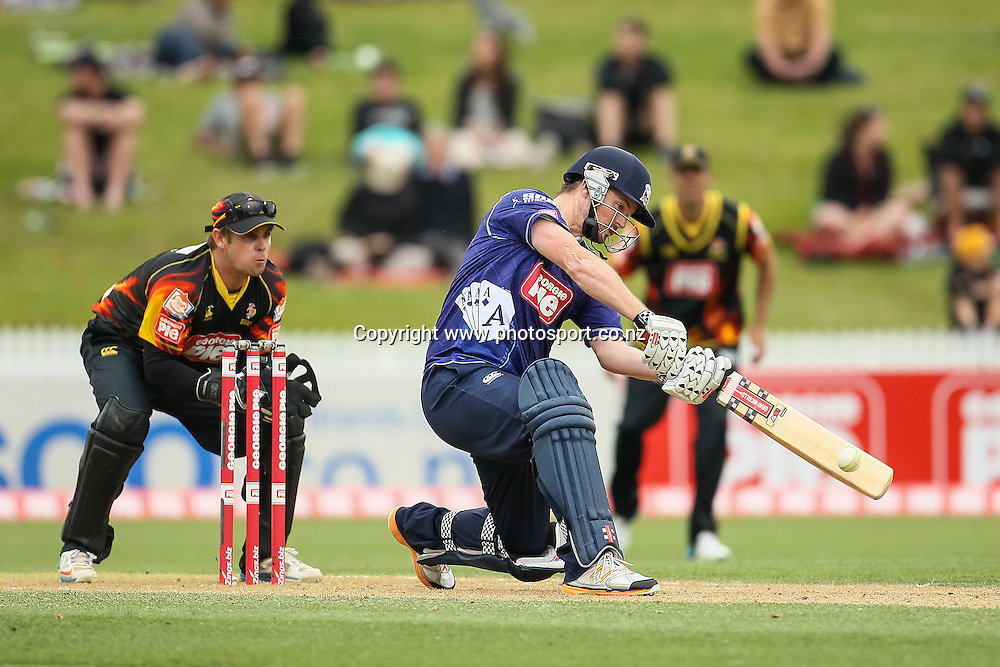 Auckland Ace's Colin Munro batting during the Georgie Pie Super Smash T20 cricket Final - Firebirds v Aces at Seddon Park, Hamilton, New Zealand on Sunday 7 December 2014.  Photo: Bruce Lim / www.photosport.co.nz