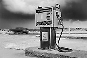 Derelict Fuel station in black and white