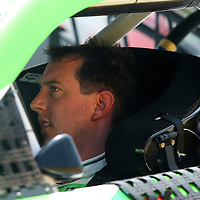 Sprint Cup driver Kyle Busch reacts before he climbs out of his damaged car during the 57th Annual NASCAR Coke Zero 400 race first practice session at Daytona International Speedway on Friday, July 3, 2015 in Daytona Beach, Florida.  (AP Photo/Alex Menendez)
