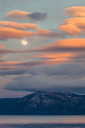 """Full Moon Over Lake Tahoe 15"" - Photograph of a full moon rising over Lake Tahoe at sunset, shot from Tahoe City."