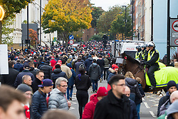 London, November 6th 2016. Football fans head for the tube and local pubs after the North London Derby between Arsenal FC and Tottenham Hotspur, that ended in a 1-1 draw.