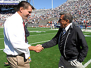 Sept 19, 2009; State College, PA, USA; Temple head coach Al Golden meets with Penn State head coach Joe Paterno before the game at Beaver Stadium.  Mandatory Credit: Jason Miller-US PRESSWIRE