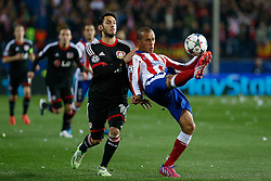 17.03.2015, Estadio Vicente Calderon, Madrid, ESP, UEFA CL, Atletico Madrid vs Bayer Leverkusen, Achtelfinal, R&uuml;ckspiel, im Bild Atletico de Madrid&acute;s Miranda and Bayer 04 Leverkusen&acute;s Calhanoglu // during the UEFA Champions League Round of 16, 2nd Leg match between Atletico de Madrid and Bayer Leverkusen at the Estadio Vicente Calderon in Madrid, Spain on 2015/03/17. EXPA Pictures &copy; 2015, PhotoCredit: EXPA/ Alterphotos/ Victor Blanco<br /> <br /> *****ATTENTION - OUT of ESP, SUI*****