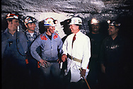 Jimmy Carter talks to coal miners after decending into the Old Ben Coal Mine in West Frankfort, Il on October 13, 1980<br /> Photo by Dennis Brack