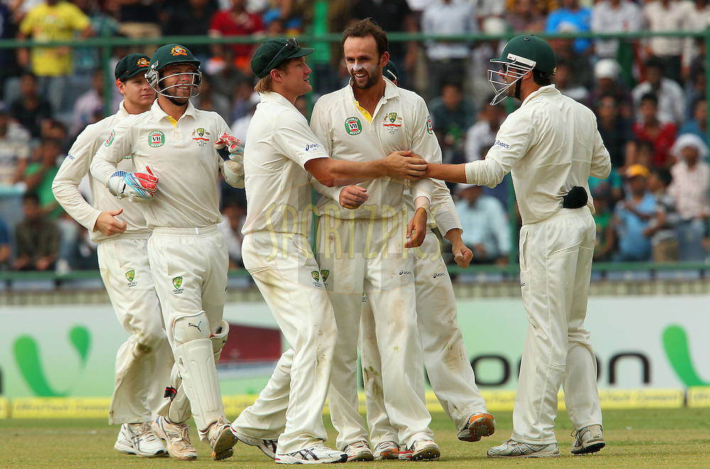 Nathan Lyon of Australia celebrates the wicket of Sachin Tendulkar of India during day 3 of the 4th Test Match between India and Australia held at the Feroz Shah Kotla stadium in Delhi on the 24th March 2013..Photo by Ron Gaunt/BCCI/SPORTZPICS ..Use of this image is subject to the terms and conditions as outlined by the BCCI. These terms can be found by following this link:..http://www.sportzpics.co.za/image/I0000SoRagM2cIEc