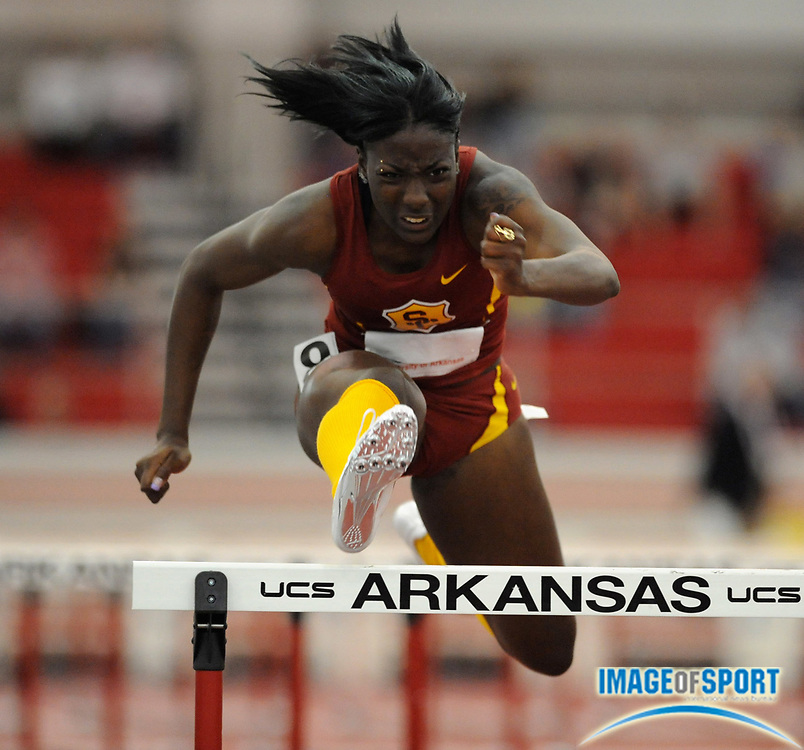Mar 14, 2008; Fayetteville, AR, USA; Nia Ali of Southern California placed fourth in women's 60m hurdle heat in 8.21 in the NCAA Indoor track and field championships at the Randal Tyson Center. Mandatory Credit: Kirby Lee/Image of sport-US PRESSWIRE