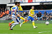 (Caption Correction)Tyler Roberts (11 of Leeds United gets a shot away which hits the post during the The FA Cup 3rd round match between Queens Park Rangers and Leeds United at the Loftus Road Stadium, London, England on 6 January 2019.