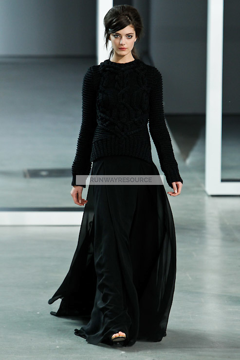 Katryn Kruger walks down runway for F2012 Derek Lam's collection in Mercedes Benz fashion week in New York on Feb 10, 2012 NYC