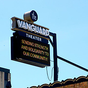 A sign at the Vanguard Theater encourages the community as it copes with the Coronavirus (COVID-19) threat on Monday, March 30, 2020 in Orlando, Florida. (Alex Menendez via AP)