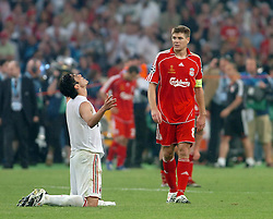 Athens, Greece - Wednesday, May 23, 2007: AC Milan's Kaka celebrates as Liverpool's Harry Kewell and Steven Gerrard look dejected afte the UEFA Champions League Final at the OACA Spyro Louis Olympic Stadium. (Pic by Jason Roberts/Propaganda)