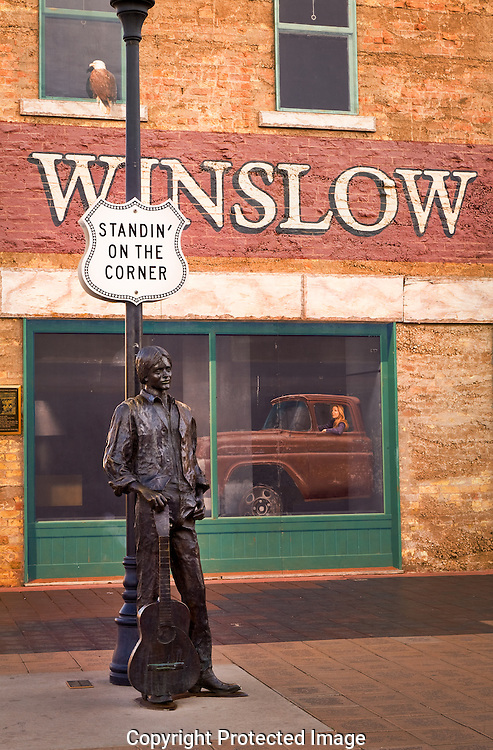 Route 66, Standing on the Corner; Standin' on the Corner, Eagles, song, statue, Winslow, Arizona, AZ
