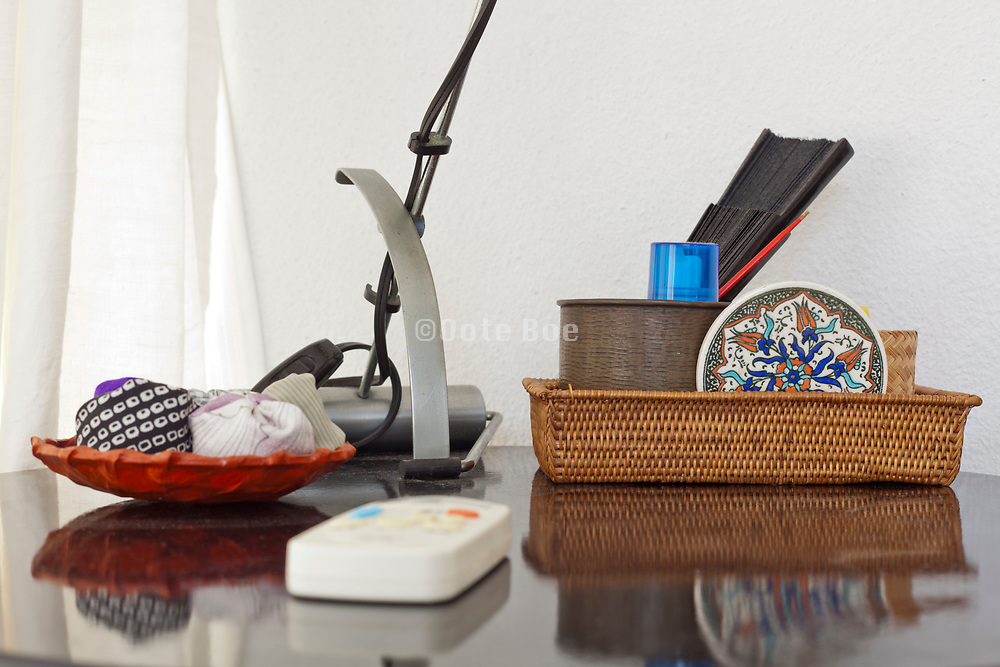 extreme close up of table with various objects on it