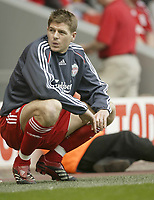 Photo: Aidan Ellis.<br /> Liverpool v Wigan Athletic. The Barclays Premiership. 21/04/2007.<br /> Liverpool's Steven Gerrard who was rested today