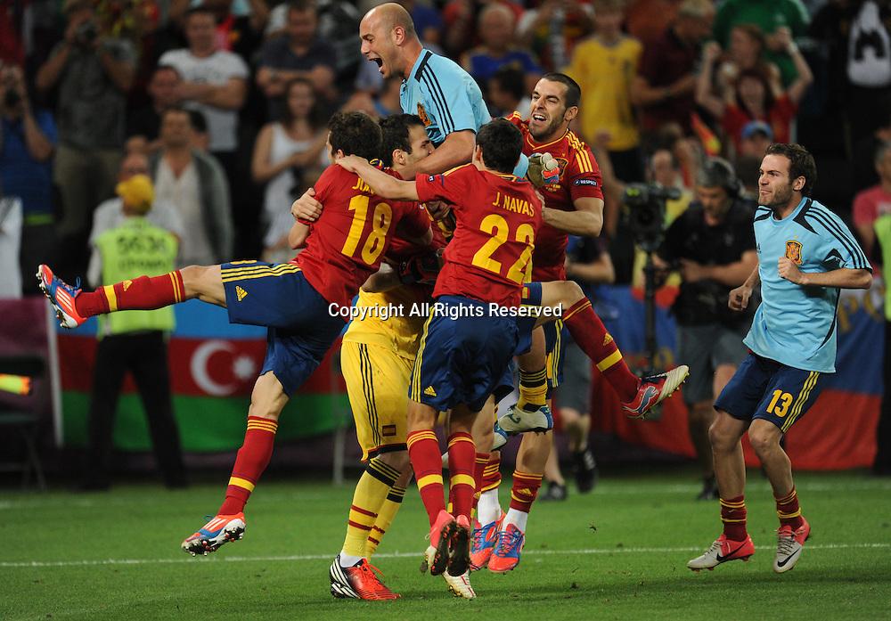 27 06 2012 Donetsk Ukraine.  Spain's team celebrates after winning the UEFA EURO 2012 semi-final soccer match on penalties Portugal vs Spain at Donbass Arena in Donetsk, Ukraine, 27 June 2012.