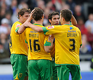 Carlisle - Saturday October 10th, 2009: Norwich City celebrate the only goal of the game during the Coca Cola League One match at Brunton Park, Carlisle. (Pic by Jed Wee/Focus Images)..