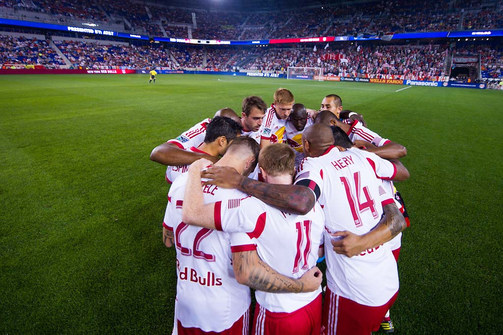 HARRISON, NJ - AUGUST 17:  Members of New York Red Bulls huddle up before  the game against the Philadelphia Union at Red Bulls Arena on August 17, 2013. (Photo By: Rob Tringali)