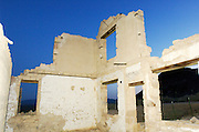 Ruined buildings at the Ryolite ghost town.  California, USA