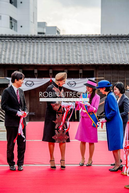 NAGASAKY - Prins Fumihito Akishino , Prinses Kiko en Prinses Laurentien is aanwezig bij de ceremonie ter ere van de voltooiing van de nieuwe Omotemonbashi brug van Dejima in Nagasaki. ANP ROYAL IMAGES ROBIN UTRECHT